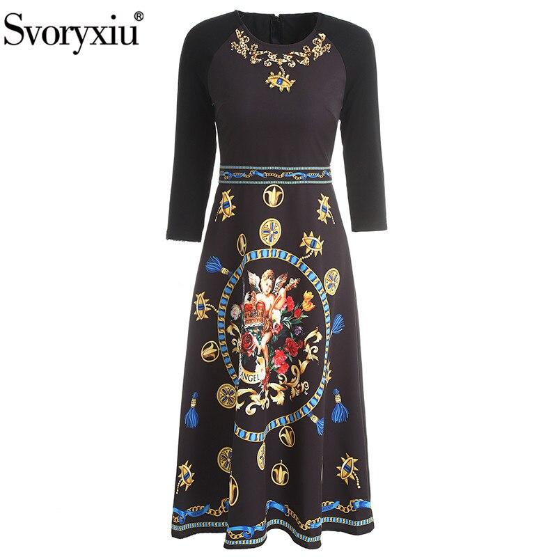 Svoryxiu 2019 Autumn Winter Runway Flower Angel Printed Vintage Black Dress Women's 3/4 Sleeve Diamond Slim A-Line Midi Dress