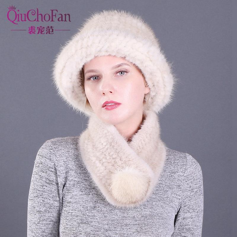 Winter Genuine Mink Fur Bucket Cap Hats & Fox Fur Ball Scarves Set Knitted Women Warm Natural Mink Fur Caps Scarf Set Party Gift