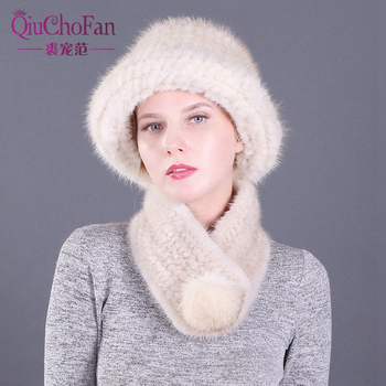 цена на Winter Genuine Mink Fur Bucket Cap Hats & Fox fur Ball Scarves Set Knitted Women Warm Natural Mink Fur Caps Scarf Set Party Gift