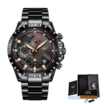 2020 New LIGE Blue Casual Mesh Belt Fashion Quartz Wristwatches Mens Watches Top Brand Luxury Waterproof Clock Relogio Masculino - S full black, China
