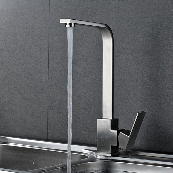 Vidric SUS304 Stainless Steel Kitchen Faucets + Hose, Kitchen Sink Faucet 360 Rotate Swivel Faucet Mixer Single Holder ELF2101C