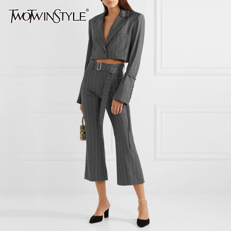 TWOTWINSTYLE Striped Women's Suit Flare Sleeve Lace Up Short Blazer High Waist Sashes Flares Pants Two Piece Set Female 2020
