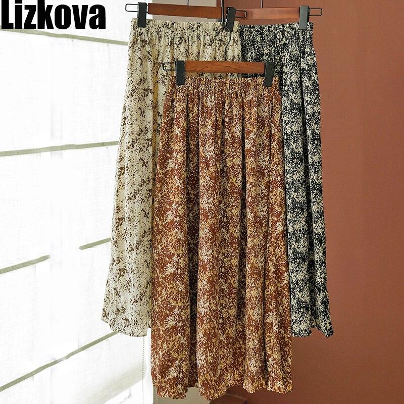 2020 Spring Chiffon Skirt Women Floral High Waist Midi Skirt Koran Style Elastic Waist Skirt Holiday Wear H9329