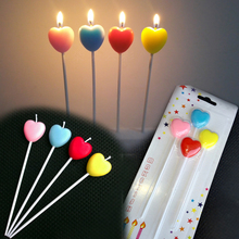 4PCS/Set Colorful Heart Shape Long Birthday Candle Cute Cake Topper Decorative Candles for Cupcake Wedding Party Cake Decoration 6pc lot golden candle for wedding cake decoration pencil cake candle birthday party decoration kids adult party supplies