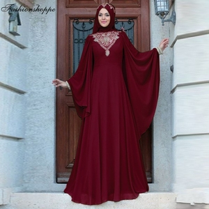 Abaya Dubai Farasha Evening Maxi Dress Muslim Women Kaftan Jilbab Arab Robe Turkish Batwing Sleeve Cocktail Party Gown Ramadan