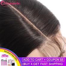 Gabrielle — Maille de dentelle 2x6 pour la partie centrale des cheveux, chevelure humaine brésilienne lisse couleur naturelle, 100% cheveux remy, Kim K, livraison gratuite