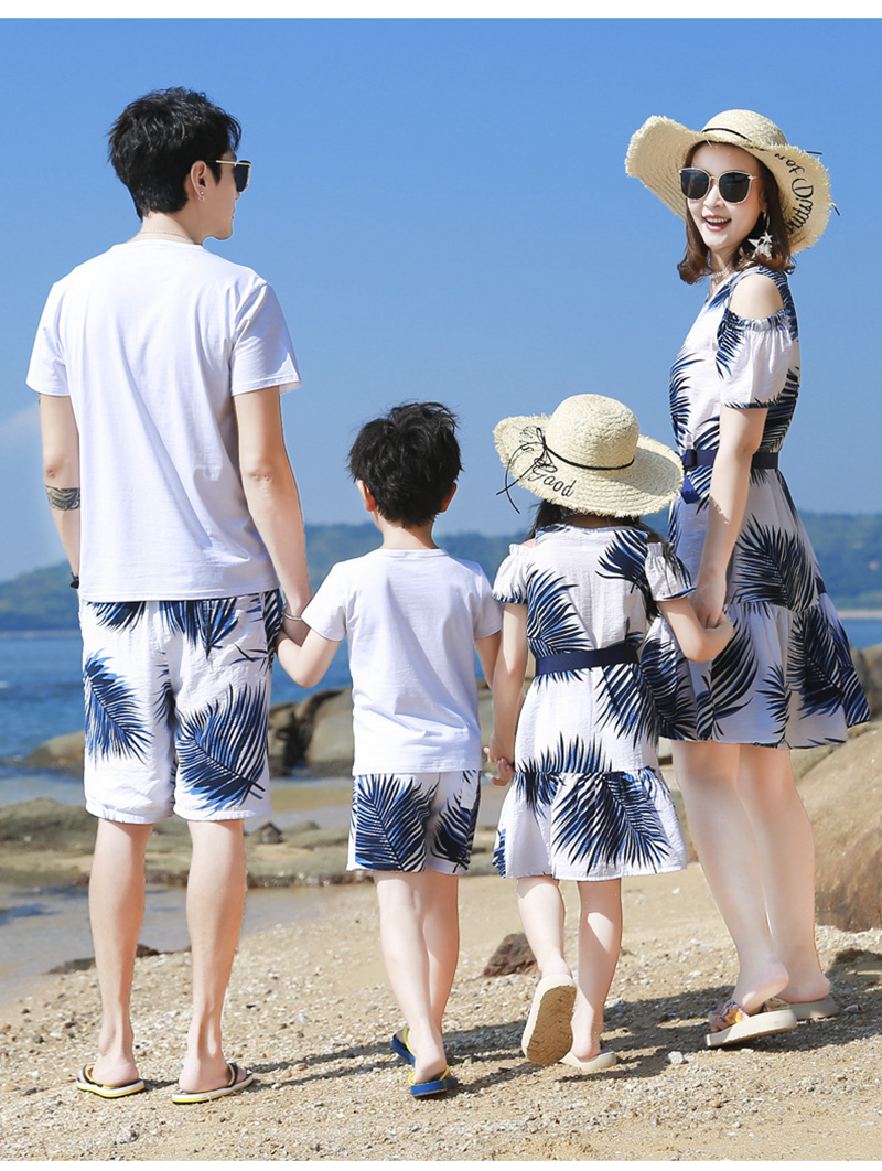 Ha53feb6bf1a744b1bd13eb6d865f04f5a - Summer Family Matching Outfits Mother Daughter Beach Vocation Dresses Summer Dad Son T-shirt+Shorts Couples Matching Clothing
