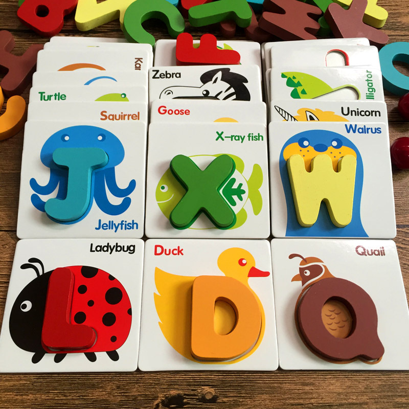 Children Wooden Early Education Lettered Baby With Pictures With Numbers English Toy Reading Non-Silent 3-6-Year-Old