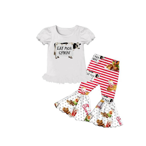 summer boutique girls short sleeves top and bell-bottoms Hamburger design outfits kids(China)