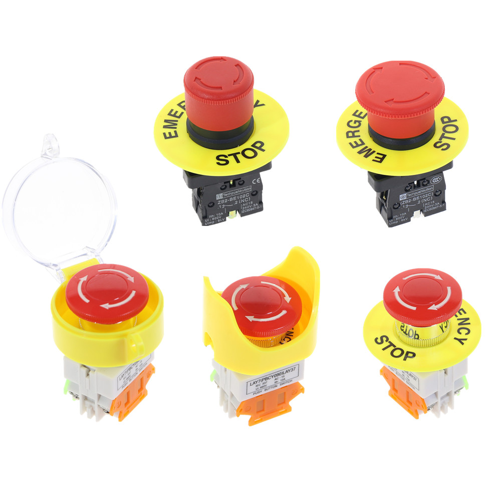 Red Mushroom Cap 1NO 1NC DPST AC 660V10A Emergency Stop Industrial Plastic Push Button Switch