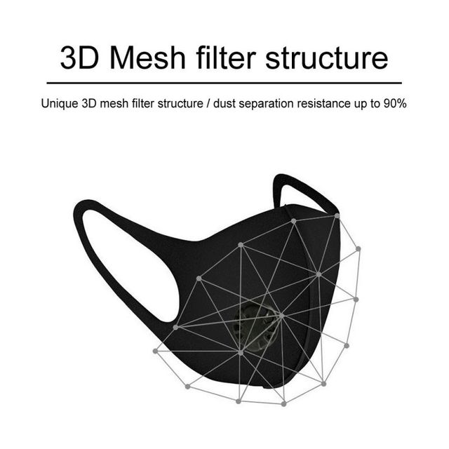 PM2.5 Anti Dust Sponge Face Mask Pollution Respirator Black Breathable Valve Mouth Masks Filter Mouth Cover Unisex 2