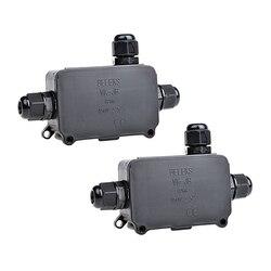 2 sztuk odporne na warunki atmosferyczne IP66 na świeżym powietrzu/zewnętrzny skrzynka przyłączowa 3 złącze kabla może kabel podziemny rękawem dla 4 8mm średnica przewodu kabla PG w Złącza od Lampy i oświetlenie na