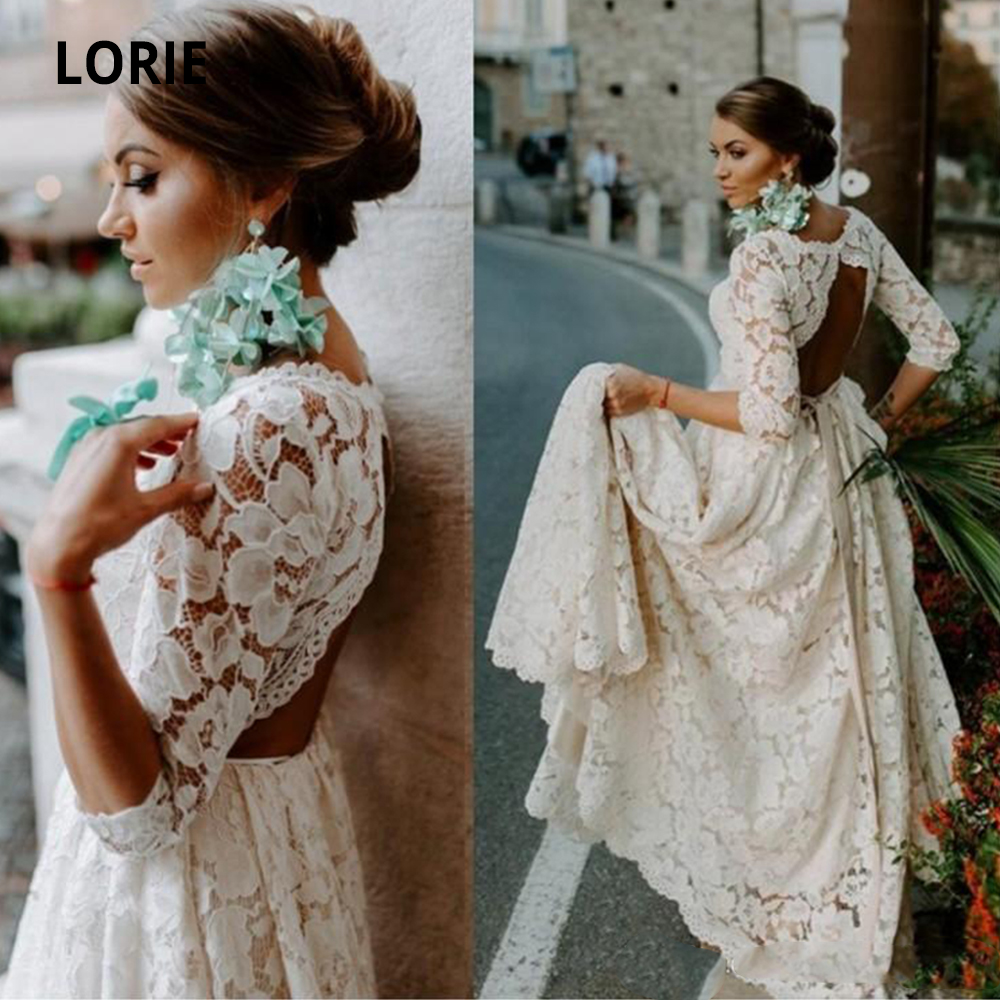LORIE Elegant Full Lace Wedding Dress Boho 2019 Half Sleeve Wedding Gowns Open Back Beach Bridal Gowns Vintage Country Plus Size