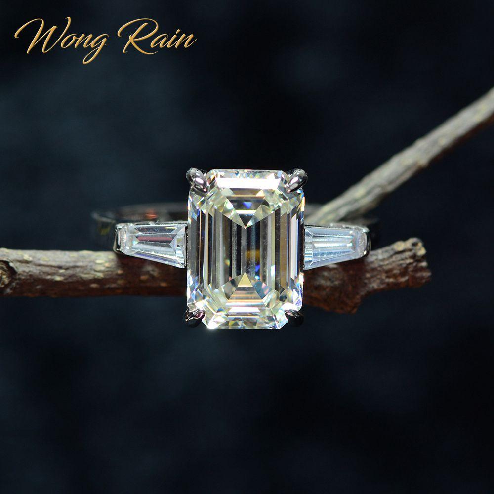 Wong Rain Vintage 100% 925 Sterling Silver Created Moissanite Gemstone Diamonds Wedding Engagement Ring Fine Jewelry Wholesale