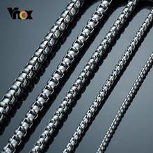 Vnox – colliers en acier inoxydable pour hommes et femmes, chaîne de 3 à 7mm de large, carré, boîte ronde Rolo, 45/50/55/60/66/70cm de long