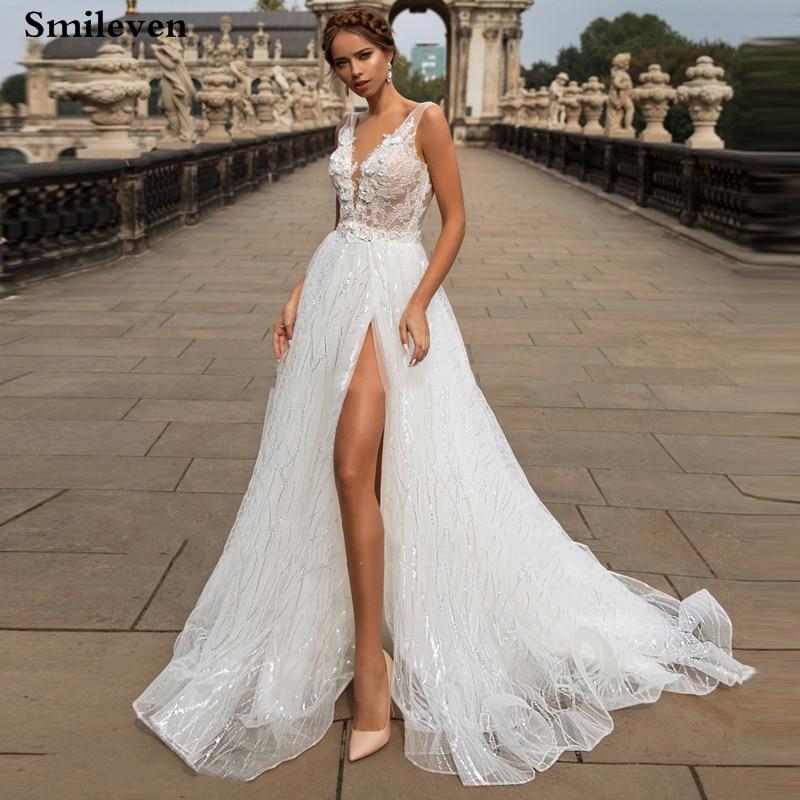 Smileven Boho Wedding Dress A Line Side Split Glitter Lace Bride Gowns Sexy V Neck Bride Dress  Vestido De Noiva