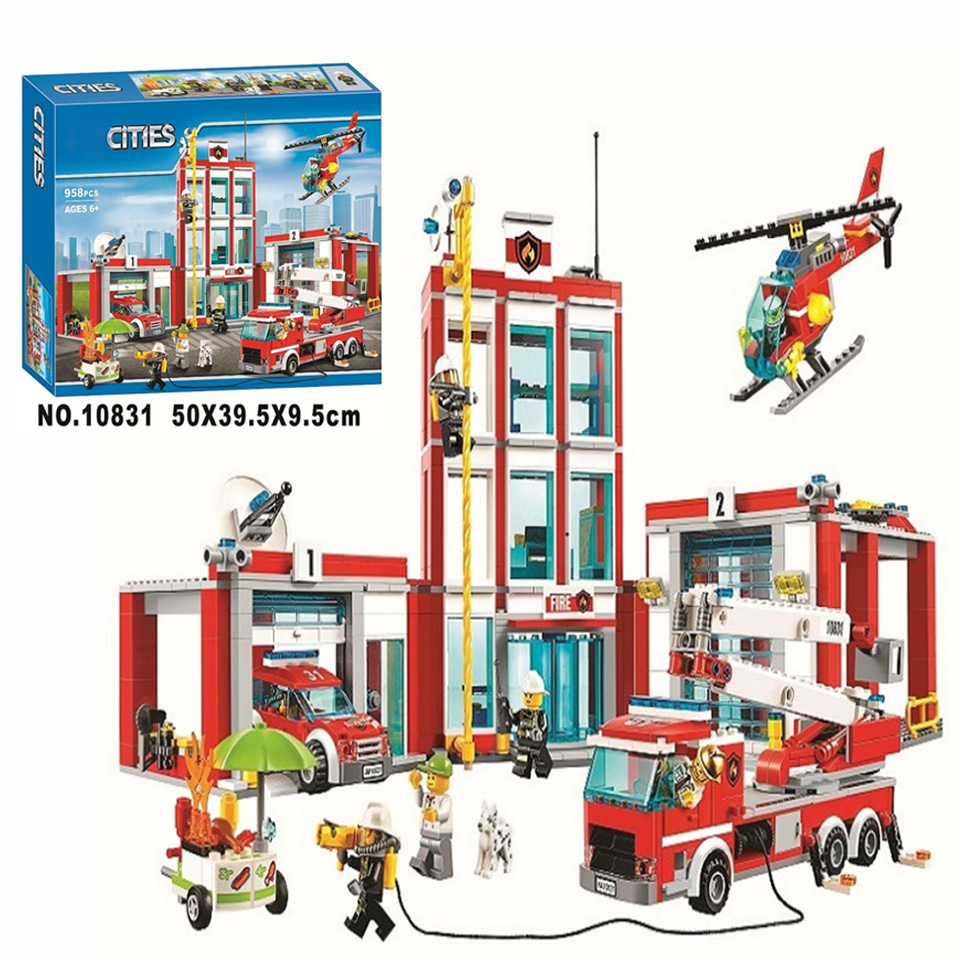 958pcs Lepining City Series 60110 The Fire Station Model Building Block Brick Toy For Children Birthday Gift 10831|Blocks|   - title=