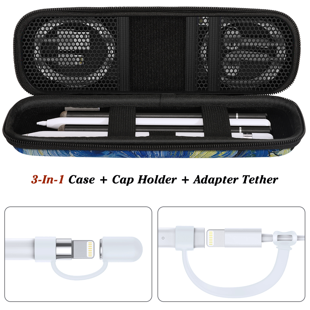 MoKo Pencil Case Holder For Apple Pencil,[3 Piece] PU Leather Case,Holder For Apple Lightning Adapter + Apple Pencil Cap Holder