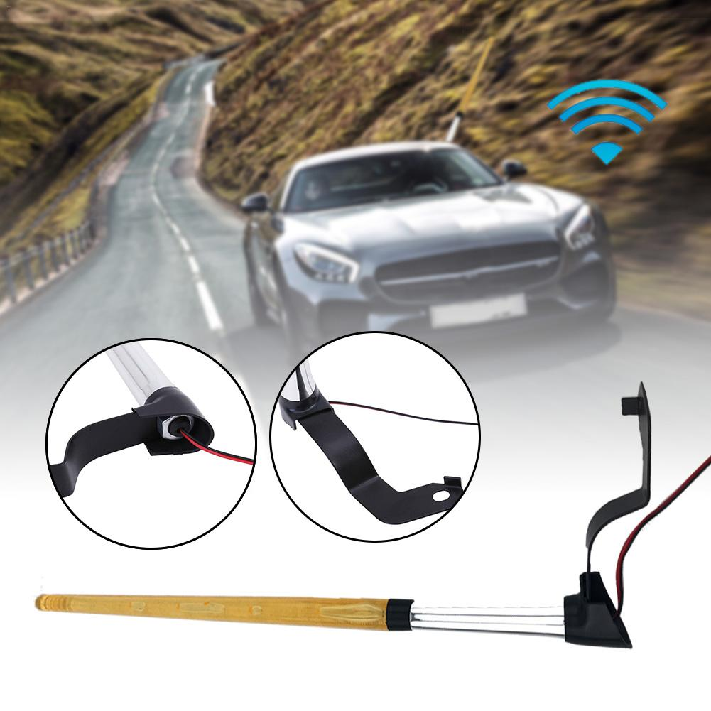 12V Front Flag Pole Light Car LED Amber Light Signal AM FM Aerial Antenna Decor