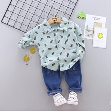 New Novel Cute Cartoon Pineapple Print Childrens Sets Fashion Handsome Shirt Jeans Two-piece Boy 1-5Y Toddler Clothes