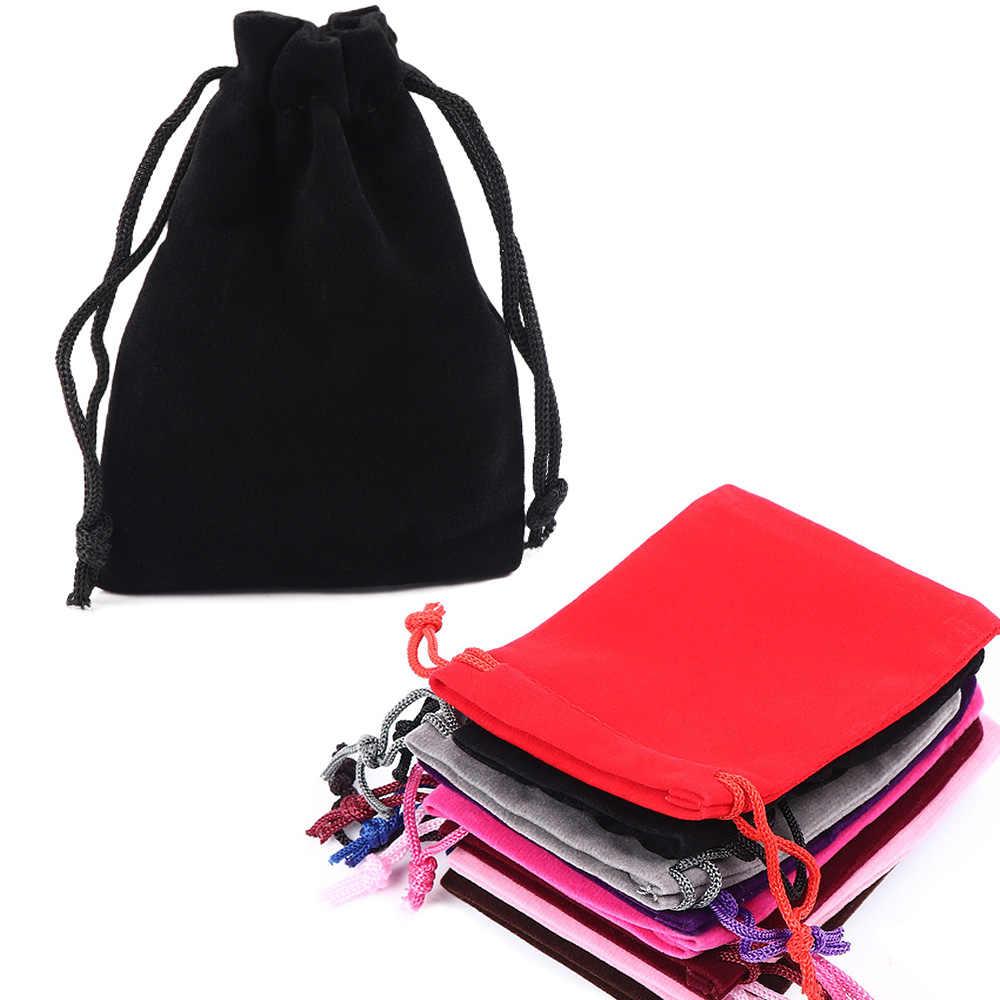5 piezas bolsas con cordón 7x9cm bolsillo joyas terciopelo flocado monedero con cordón bolsas bolsa de almacenamiento