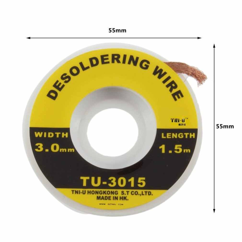 Segurança 5 pés. 3 mm bga desoldering fio trança removedor de solda wick acessório metal cor estanho TU-3015