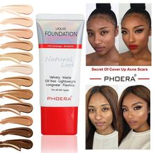PHOERA New Foundation Cream Oil Control Concealer Soft Matte Long Wear Liquid Cover Freckles Acne Marks Women Makeup