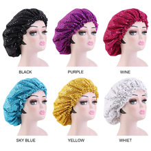 New Bonnet Women Night Sleep Cap sequined Satin Elastic Hat Head Cover Adjust Hair Loss Hat Curly Springy Styling Accessories
