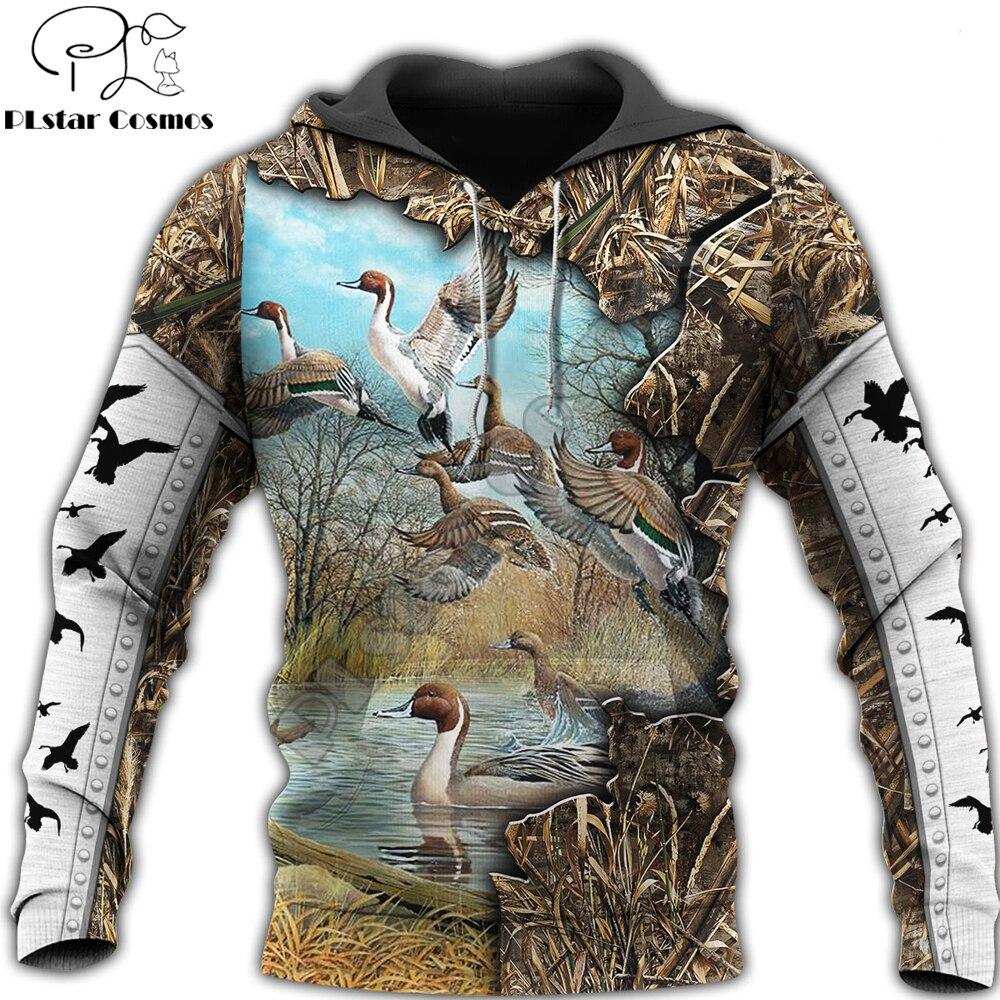 3D Printed Duck Hunting Animal Hoodie Harajuku Sweatshirt Streetwear autumn hoodies Unisex Casual jacket Tracksuits KJ0104