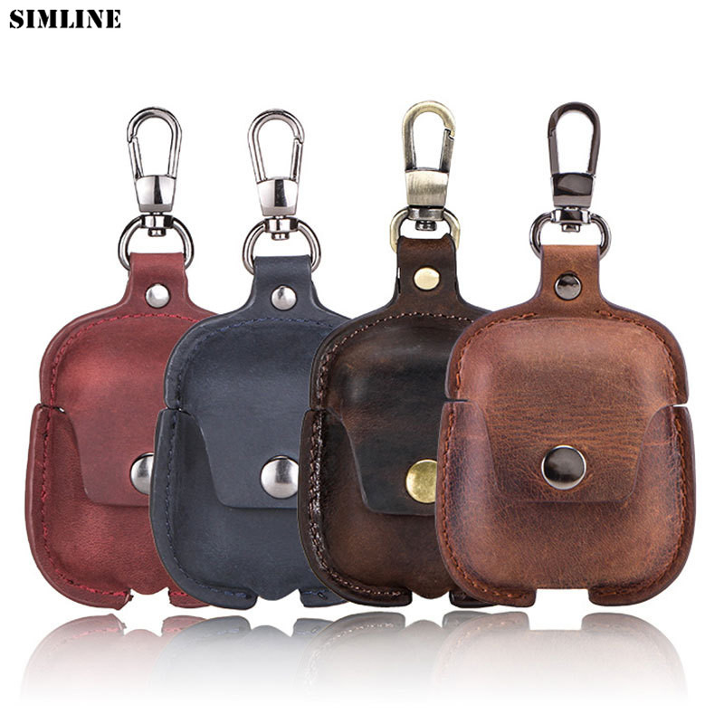 Genuine Leather Airpod Case Vintage Crazy Horse Small Airpods 2 Cover Wireless Bluetooth Earphone Protective Bag Box With Hook