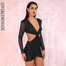 LOVE&LEMONADE Sexy Black Deep V neck Open back Cross glitter glued Material Slim Fit Party Dress LM82065