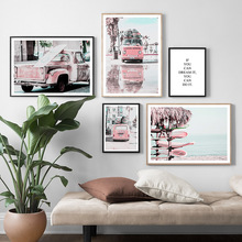 Pink Car pickup beach Quotes Landscape Wall Art Print Canvas Painting Nordic Posters And Prints Pictures For Living Room