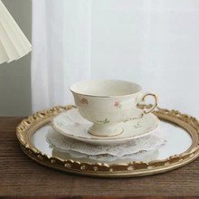 Coffee Cup Korean Retro Creamy Yellow Pastoral Floral Tracery Gold Ceramic English Afternoon Dessert Flower Tea Cup and Saucer