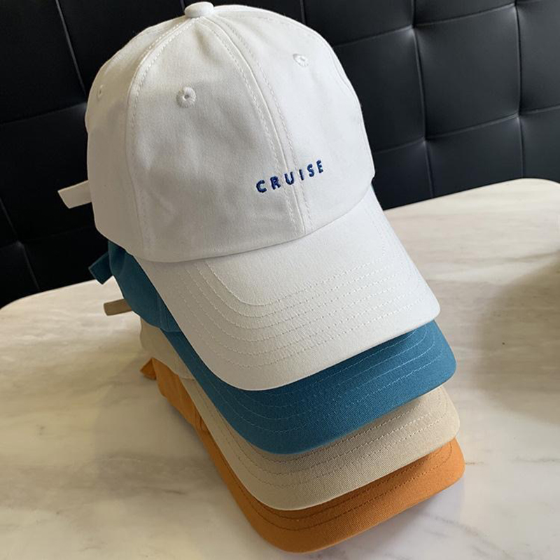 Korean Minimalism Peaked Cap Women Small Letters Embroidery Cotton Baseball Hat Soft Top Black Sun Hat Trend Luxury Woman Hat