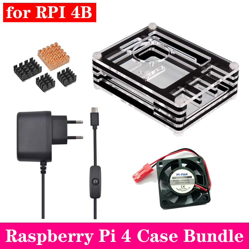 Raspberry Pi 4 Acrylic Case 9 Layers Acrylic Box Enclosure With Cooling Fan Aluminum Heat Sink For Raspberry Pi 4 Model B Pi 4B