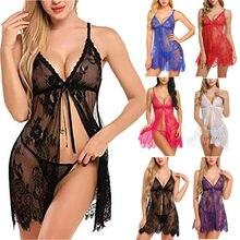 Conjunto de lingerie erótica feminina sexy rendas oco para fora roupa interior transparente abertura frontal encerramento camisola com briefs conjunto lenceria