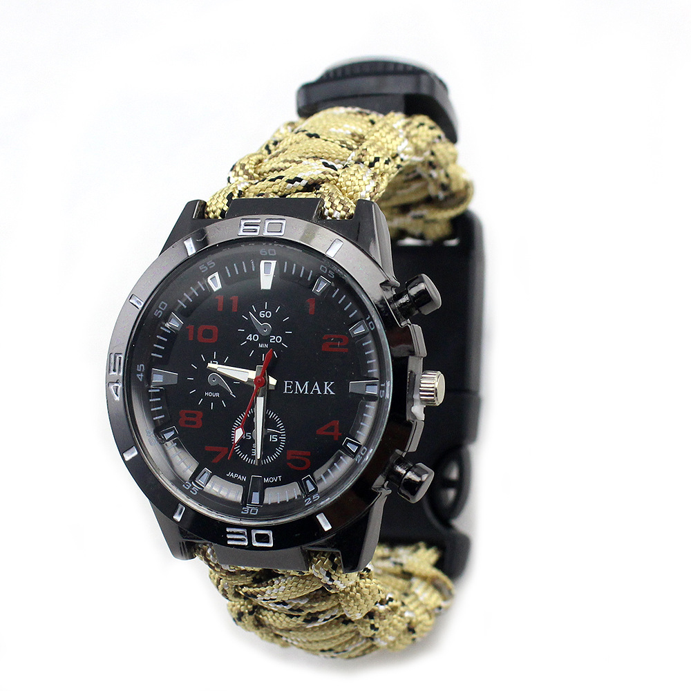 Western Style Men And Women Watch Seven Core Umbrella Rope Weaving Multifunctional Compass Survival Watch