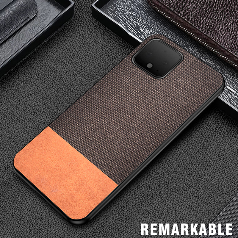For Google Pixel 4 Case PU Simple Cloth Hard Backshell Soft Border Case For Google Pixel 4 XL PC Hard Back Shell Cover