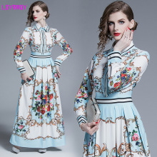 2019 European and American style new autumn winter lapel retro printing super long paragraph big waist slim dress