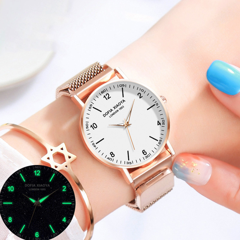 Women Watches Magnet Starry Sky Watch Luminous Clock 2019 Creative Ladies Stainless Steel Wrist Watch Waterproof Rose Gold Hour
