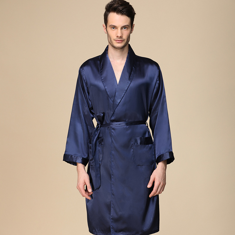 Mens Robes Silky Gown Long Sleeve Nightgown Men Kimono Silk Robe Men Pajamas Bathrobe Men Sleepwear Sleep Wearman Silk Bath Robe