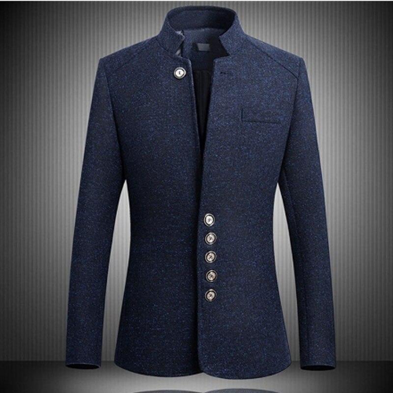 Autumn Winter Men Mandarin Collar Slim Fit Fashion Blazer Korean Style Suit Jacket Man Smart Casual Elegant Blezer Plus Size 5XL