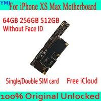 100% Original Unlocked For iPhone XS Max Motherboard With/Without Face ID Mainboard For iPhone XS Max Logic Board 64GB 256GB 512