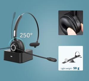 Image 3 - Langsdom H3 bluetooth 5.0ワイヤレスヘッドフォンhdマイク充電ベースワイヤレスskypeトラック運転手ドライバコールオフィス用