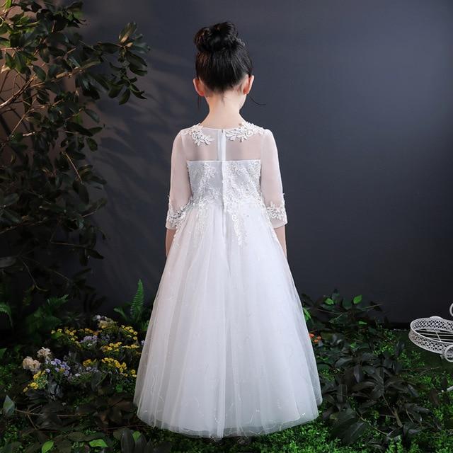 2018, vestido bordado de encaje para niñas, vestido blanco de alta gama para boda, Vestidos de flores, Vestido largo de fiesta de princesa, Ropa para Niñas