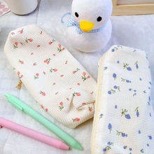 Ins Cute Simple Style Little Flowers Pencil Bag Cotton Large Capacity Pencil Case School Supplies Girls Stationery Storage Bag