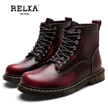 RELKA Winter Ankle Boots Men's Martin Boots Large Size 45 46 Men's Shoes Cow Leather Short Boots Fashion Tooling Boots B8 цена