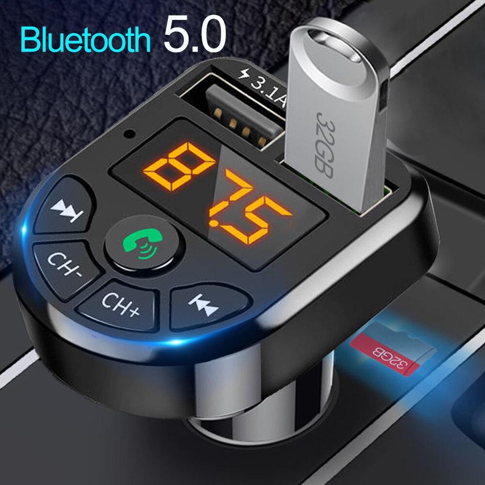 Jinserta bluetooth 5.0 transmissor fm carro kit mp3 modulador jogador sem fio receptor de áudio handsfree duplo usb carregador rápido 3.1a