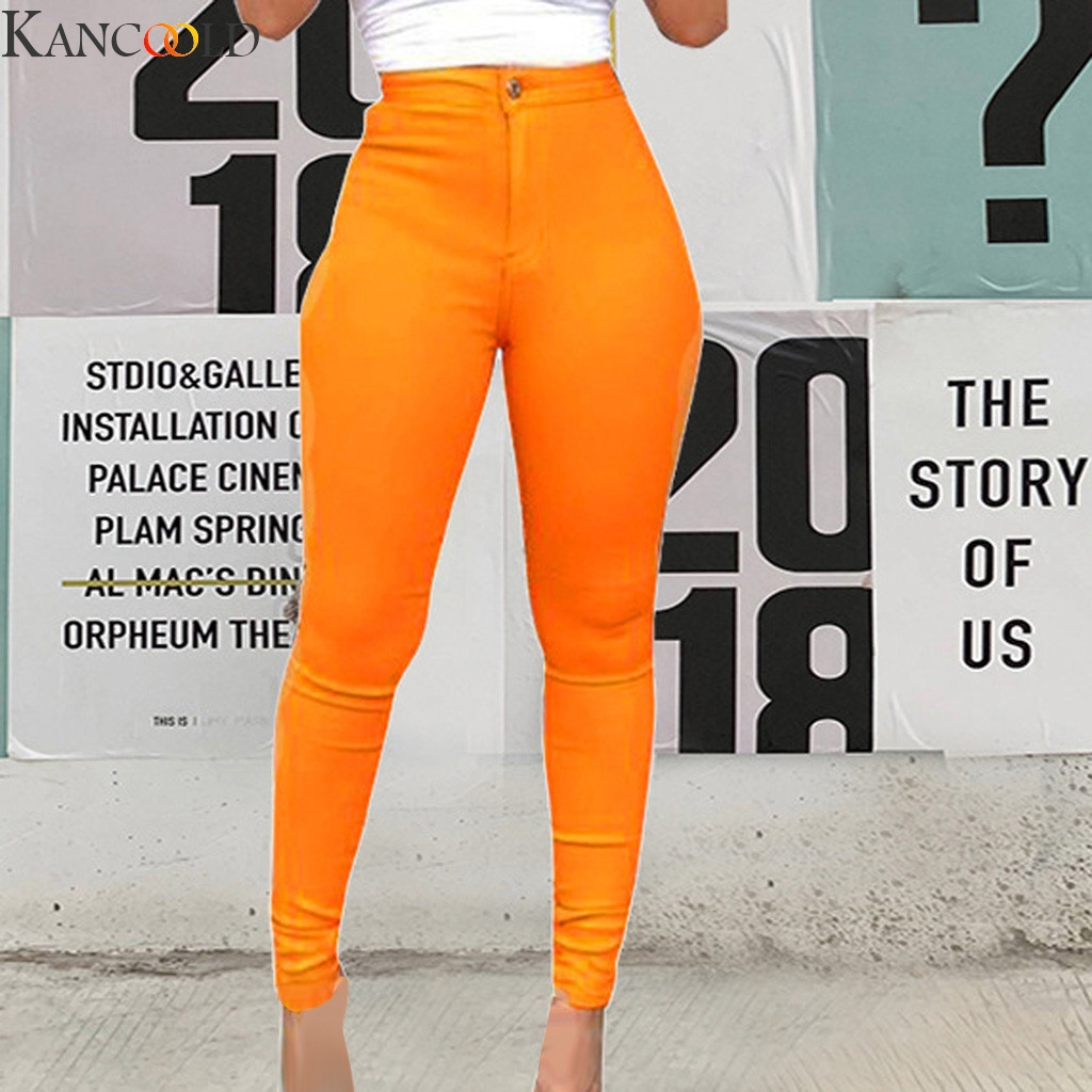 KANCOOLD Low High Waist Stretch Women Pencil Pants Candy-colored Jeans Full Length Skinny White Black Orange Solid Color Jean
