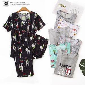 Image 1 - New Plus Size Pajamas for Women Summer Short Sleeves Calf Length Pants Pijama Mujer V Neck Printing Loungewear Pyjamas Sleepwear